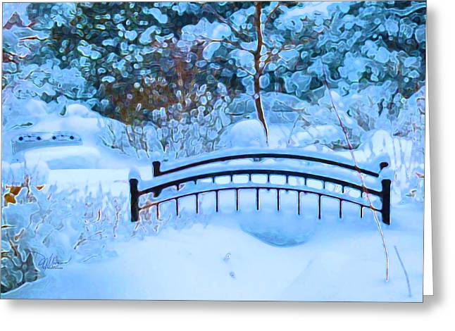 Christmas Eve Storm And The Little Garden Bridge Greeting Card