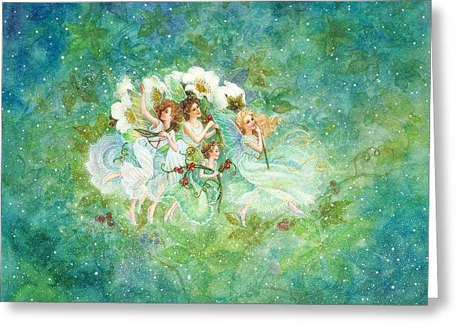 Christmas Fairies Greeting Card by Lynn Bywaters