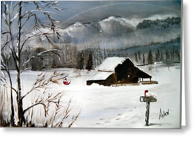 Christmas Farm House Greeting Card