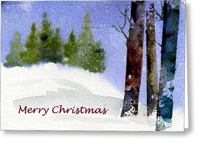 Greeting Card featuring the painting Christmas Forest 02 by Anne Duke