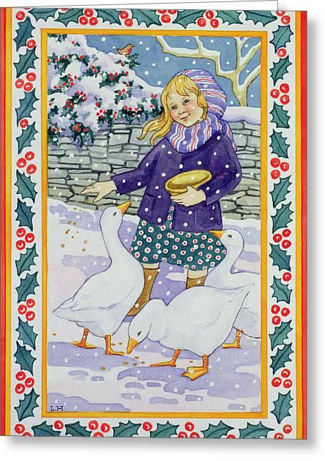 Christmas Geese Greeting Card by Lavinia Hamer