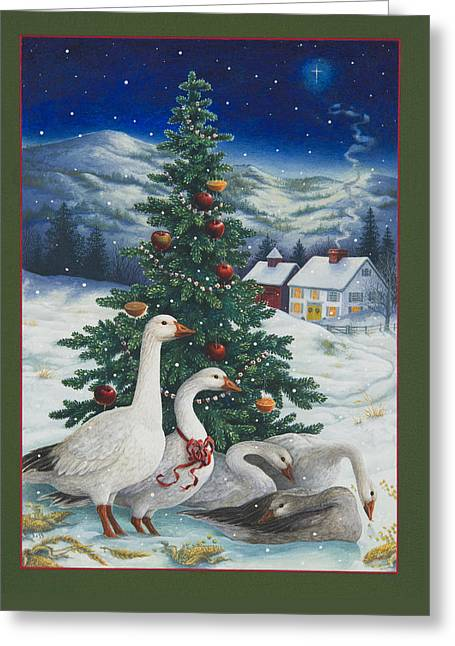 Christmas Geese Greeting Card by Lynn Bywaters