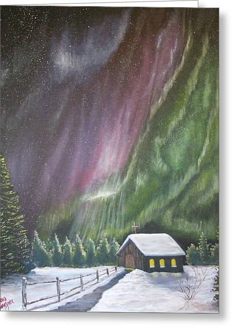 Greeting Card featuring the painting Christmas Glory  by Dan Wagner