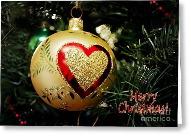 Christmas Gold Ball With Heart And Greeting Greeting Card