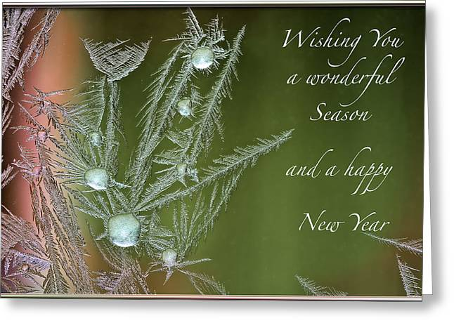 Greeting Card featuring the mixed media Christmas Greeting Card Ice Flowers by Peter v Quenter