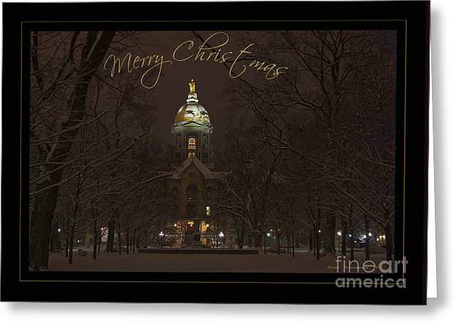 Christmas Greeting Card Notre Dame Golden Dome In Night Sky And Snow Greeting Card by John Stephens