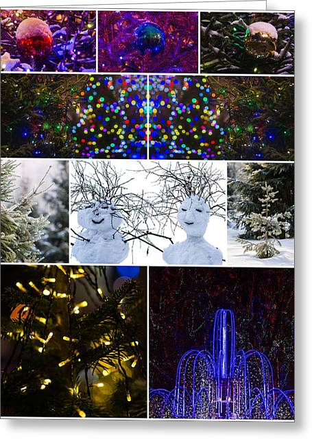 Christmas Greetings From Snowball Family - Featured 3 Greeting Card by Alexander Senin