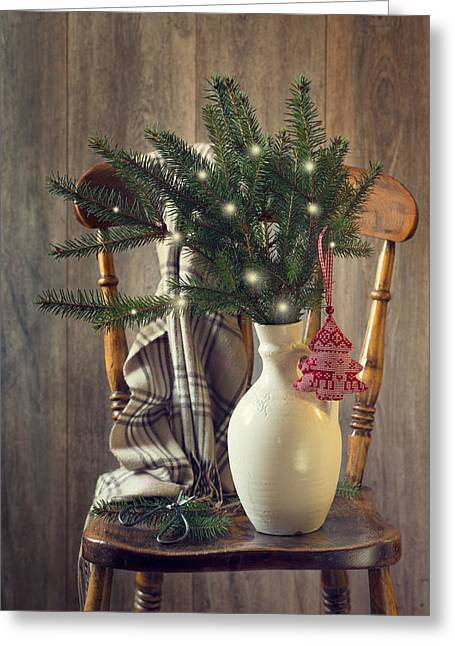 Christmas Holiday Chair Greeting Card by Amanda Elwell