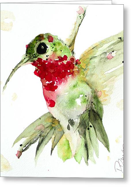 Christmas Hummer Greeting Card by Dawn Derman