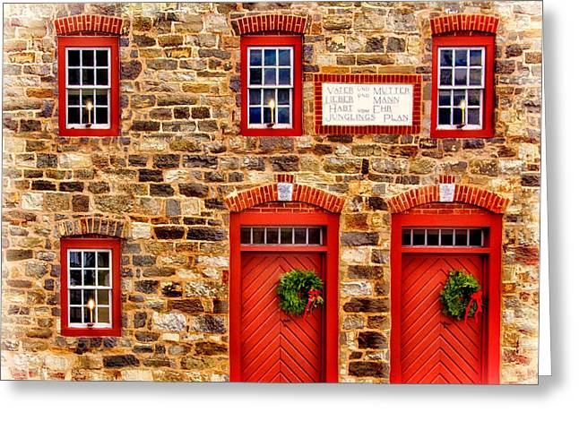 Christmas In Bethlehem Pa Greeting Card by Carolyn Derstine
