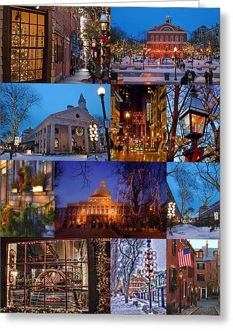Christmas In Boston Greeting Card by Joann Vitali