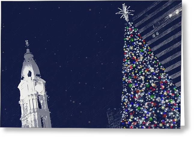 Christmas In Center City Greeting Card by Photographic Arts And Design Studio