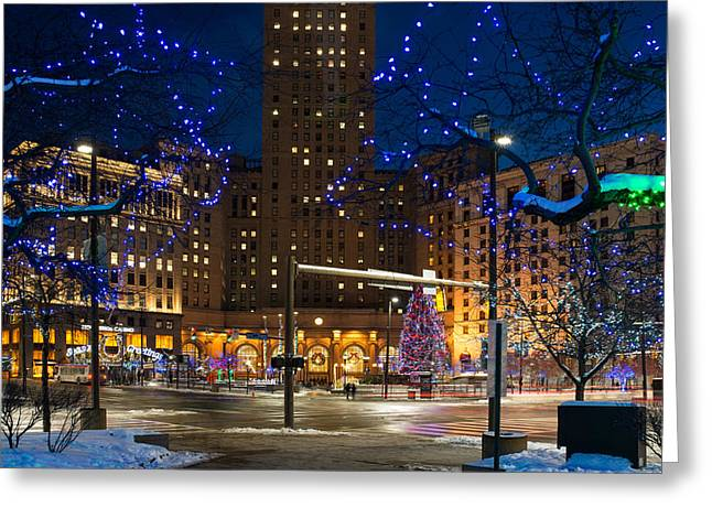 Christmas In Downtown Cleveland Greeting Card by Clint Buhler