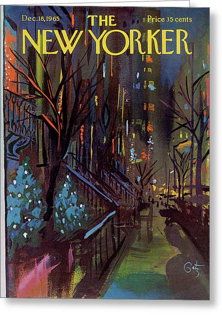 Christmas In New York Greeting Card by Arthur Getz