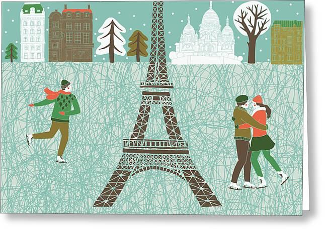 Christmas In Paris Print Design Greeting Card