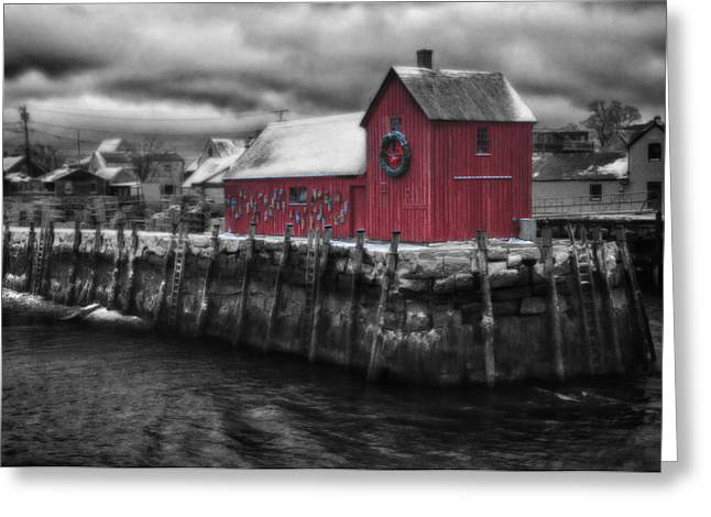 Christmas In Rockport New England Greeting Card