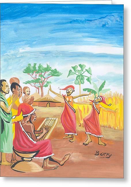 Greeting Card featuring the painting Christmas In Rwanda by Emmanuel Baliyanga