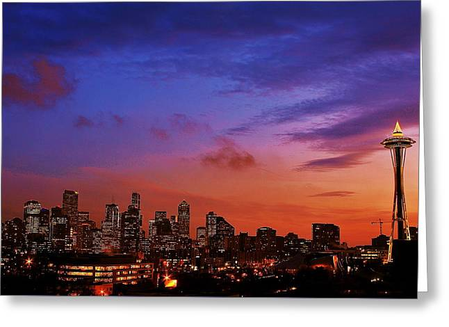 Christmas In Seattle Greeting Card by Benjamin Yeager