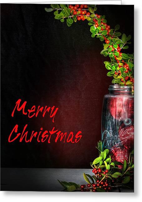Christmas Jar Greeting Card by David and Carol Kelly