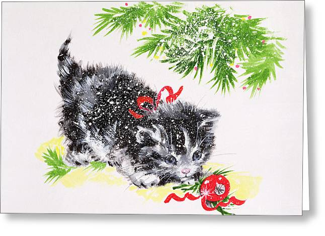 Christmas Kitten Greeting Card by Diane Matthes