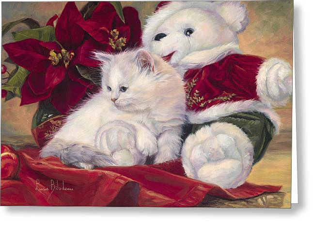 Christmas Kitten Greeting Card by Lucie Bilodeau