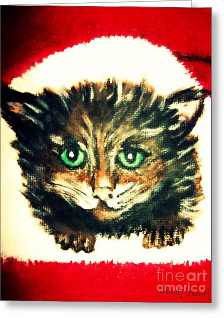 Greeting Card featuring the painting Christmas Kitten  by Mindy Bench