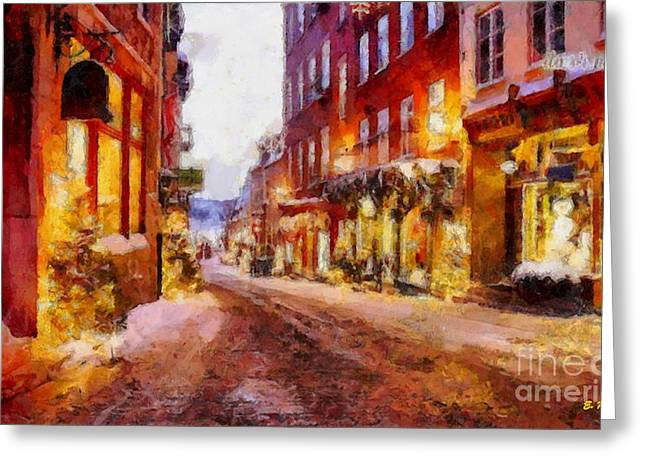 Christmas Lane Greeting Card by Elizabeth Coats