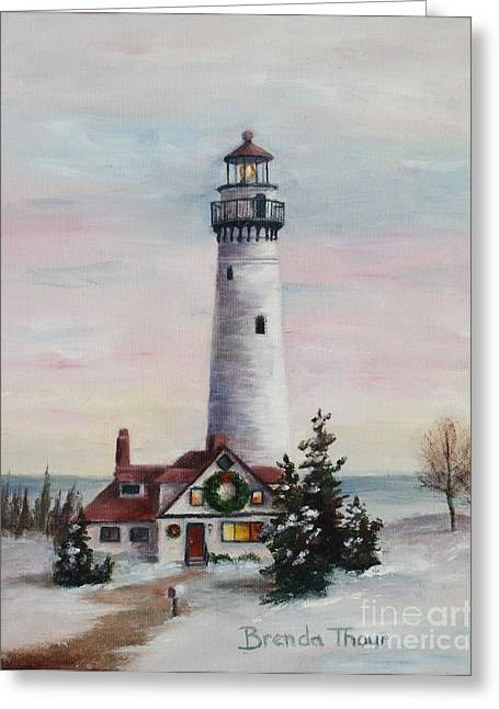 Greeting Card featuring the painting Christmas Light by Brenda Thour