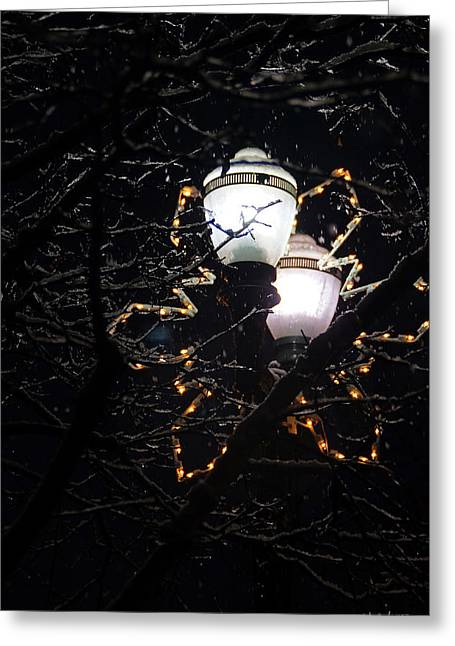Christmas Light Post - Grants Pass Greeting Card by Mick Anderson