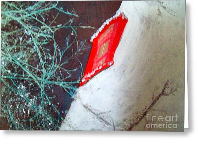 Christmas Lighthouse Love Greeting Card by Jackie Bodnar