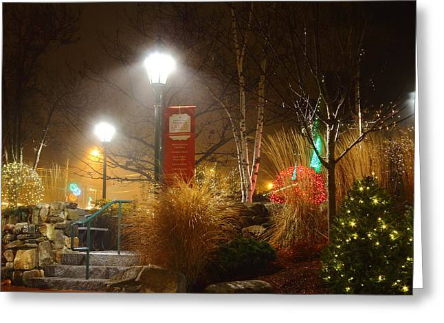 Christmas Lights In The Fog And Rain Greeting Card by Stephen Hobbs