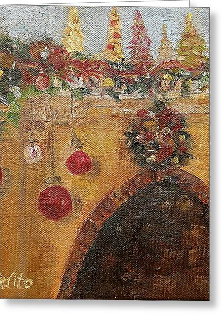 Christmas Mantle At The Mission Inn Greeting Card by MaryAnne Ardito