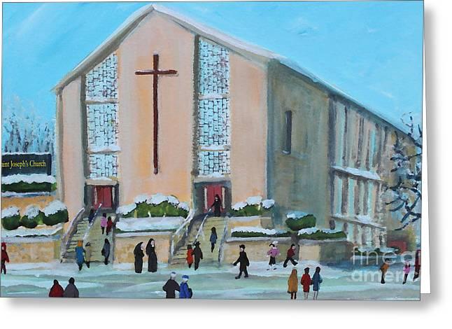 Christmas Mass At Saint Joseph's Church Greeting Card