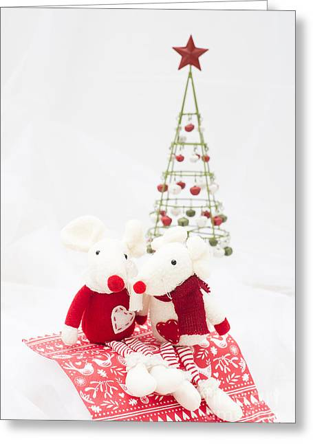Christmas Mice Greeting Card by Anne Gilbert