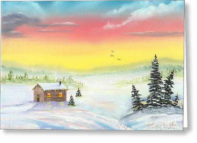 Greeting Card featuring the painting Christmas Morning by Mary Scott