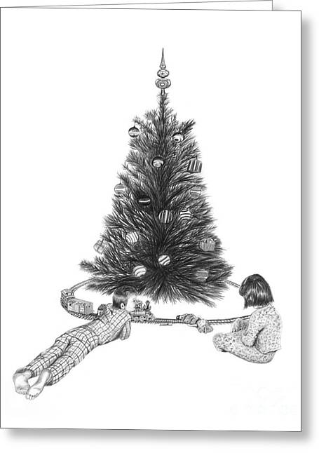 Christmas Morning Play  Greeting Card by Peter Piatt