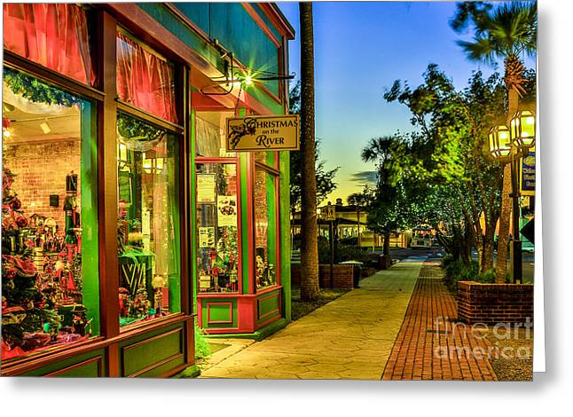 Greeting Card featuring the photograph Sunset Christmas Store by Paula Porterfield-Izzo