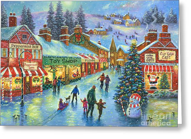 Christmas On Peppermint Lane Greeting Card by Vickie Wade