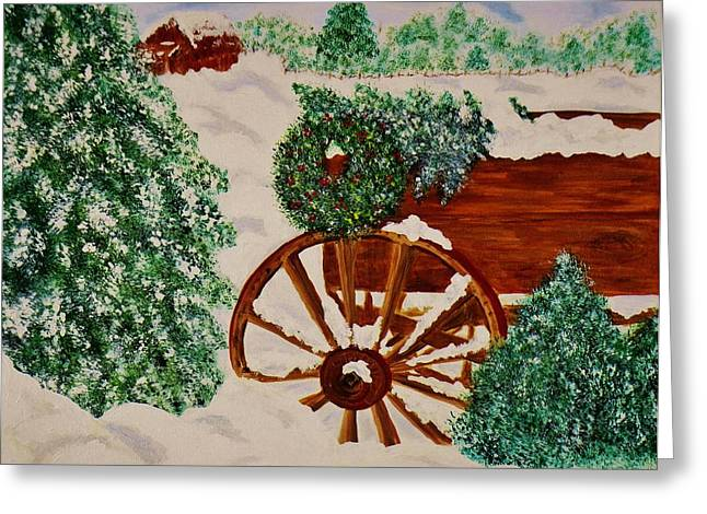 Christmas On The Farm Greeting Card by Celeste Manning