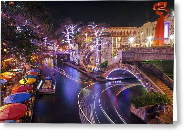 Christmas On The River Walk 3 Greeting Card by Paul Huchton
