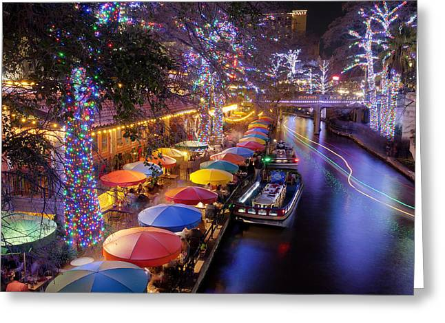 Christmas On The Riverwalk Greeting Card by Paul Huchton
