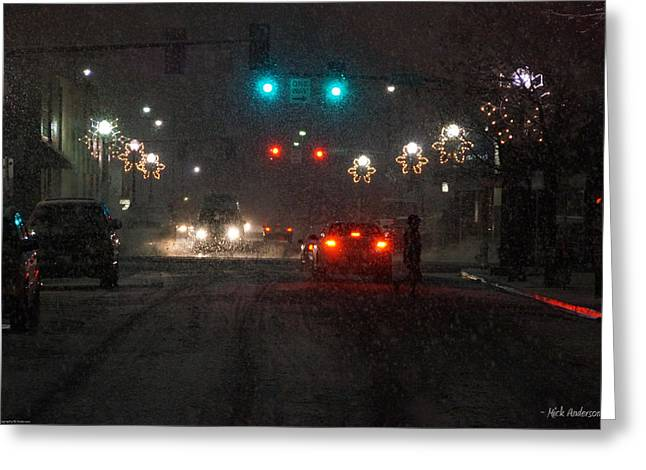Christmas On The Streets Of Grants Pass Greeting Card by Mick Anderson