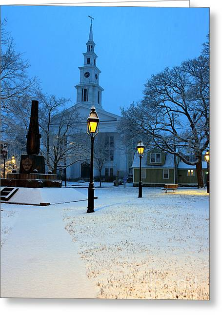 Christmas On The Town Common Greeting Card by Butch Lombardi