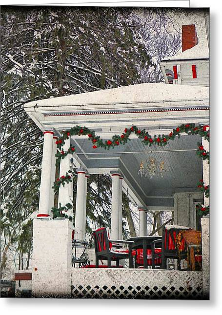 Christmas On The Veranda  Greeting Card by Chris Berry