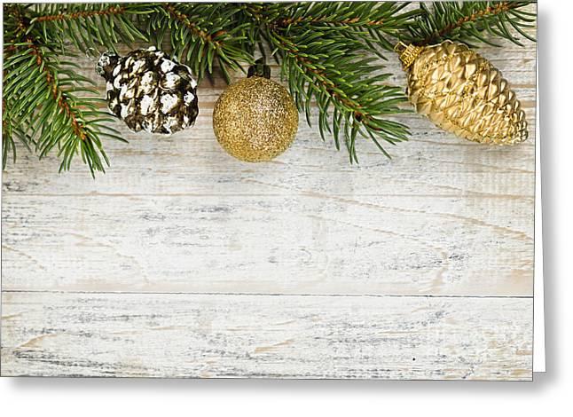 Christmas Ornaments On Fir Branch Greeting Card