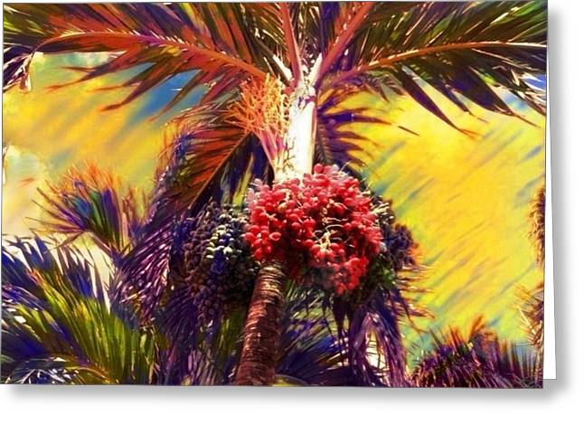 Christmas Palm Tree In Yellow - Square Greeting Card