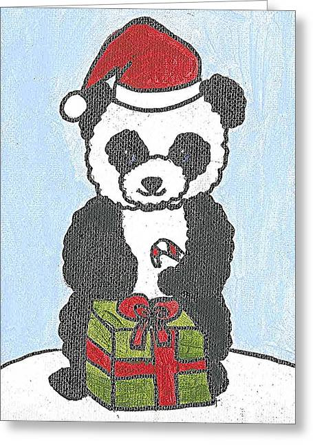 Greeting Card featuring the painting Christmas Panda by Fred Hanna