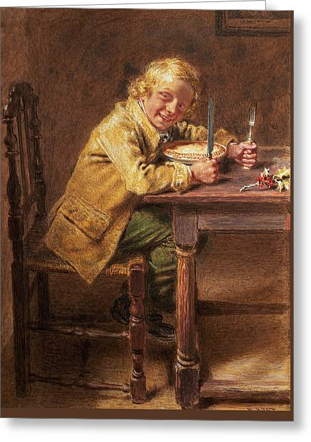 Christmas Pie Greeting Card by William Henry Hunt