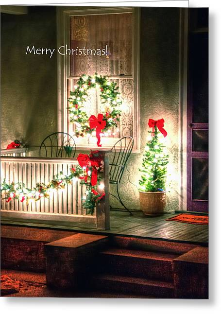 Christmas Porch Greeting Card by Jerry Sodorff
