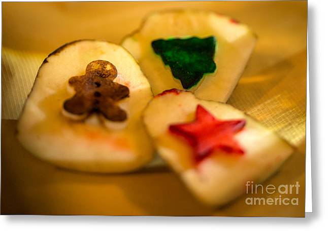Christmas Potato Stamps Greeting Card by Iris Richardson